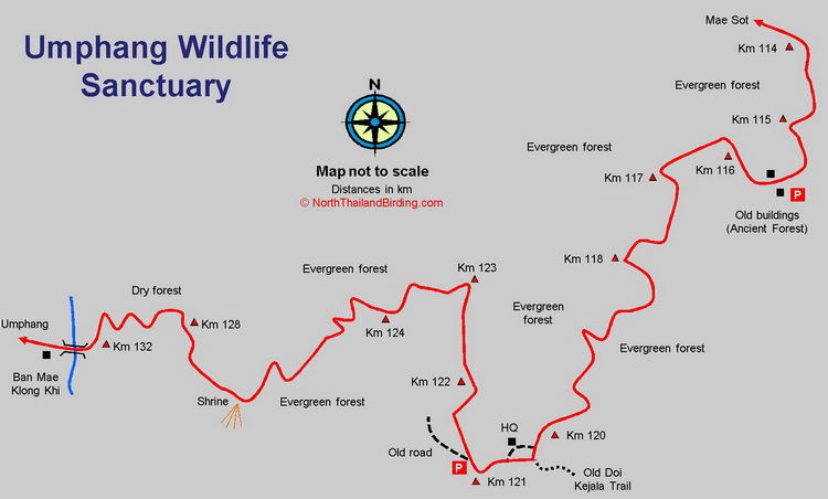 Umphang Wildlife Sanctuary map